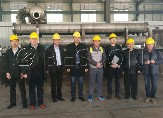 Romania Costumers Came to Visit Beston Continuous Plastic to Oil Machine